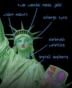 Statue of Liberty with markings for cosmetic surgery