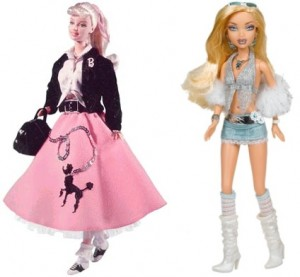 1950s versus 2006 Barbie