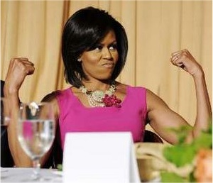 Michelle Obama, showing off those famous guns.