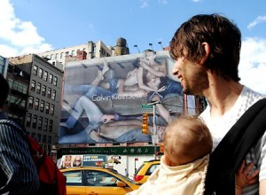 Calvin Klein's provocative billboard on Houston Street and Lafayette Street in New York