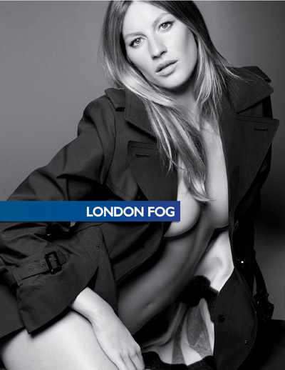 Gisele in another London Fog ad. Can you spot the Photoshopping?