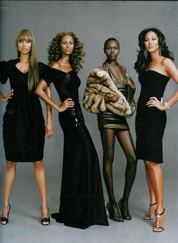 (Left to right:) Black supermodels Tyra Banks, Iman, Alek Wek, and Kimora Lee Simmons