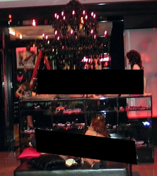 A censored photo of a Victoria's Secret store display