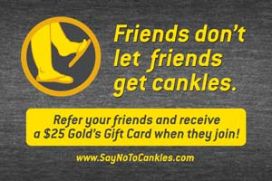 "Part of Gold's Gym's ""Cankle Awareness"" campaign"