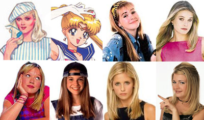 Jem, Sailor Moon, Clarissa, Cher, Lizzie McGuire, Alex Mac, Buffy, and Sabrina