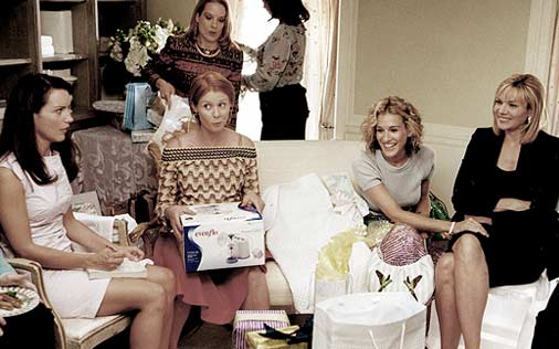 (Miranda (center), reluctantly attends the women-only baby shower in her honor in an episode of <em>Sex and the City</em>