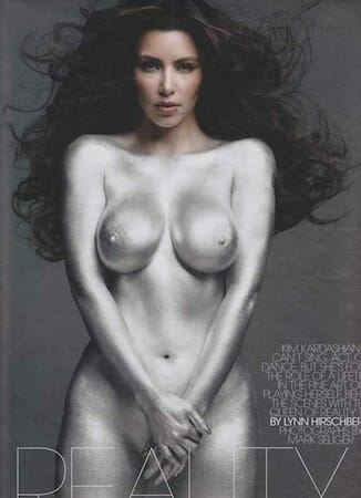 Does painting Kim Kardashian silver make her less naked?