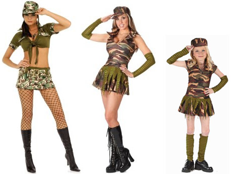 Typical army costumes for women, teens, and girls. I don't think any of these were designed for combat.