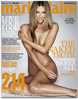 Naked and un-airbrushed Jennifer Hawkins will grace the cover of the Australian <em>Marie Claire</em> in February&#8221; width=&#8221;175&#8243; height=&#8221;215&#8243; /></a><p class=