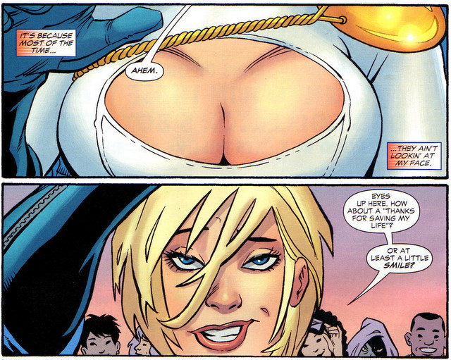 Panels from a Power Girl comic book