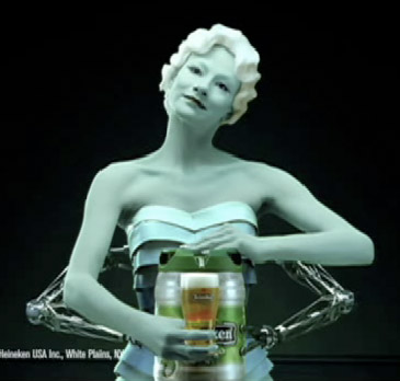 A Heineken ad featuring a blonde, female robot serving beer