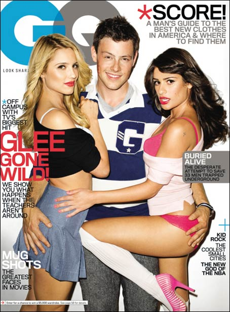 Glee's Dianna Agron, Cory Monteith, and Lea Michele get very adult on the cover of GQ.