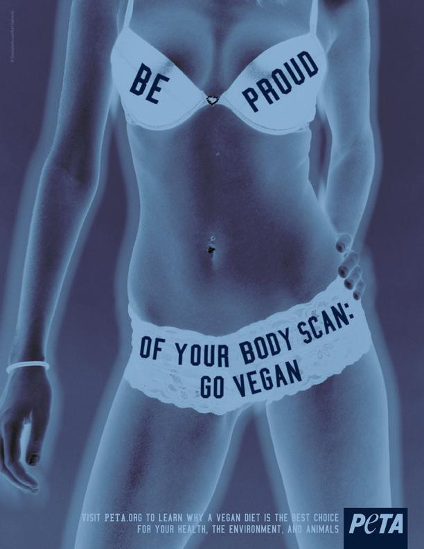 Stripped down, decapitated female bodies are somehow relevant to the ethical treatment of animals. Really.