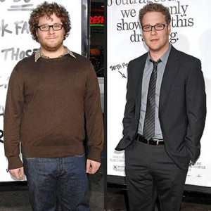 "Seth Rogan before and after his ""Green Hornet"" transformation."
