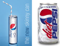 Doesn't the skinny Pepsi can on the left just exude beauty and confidence?