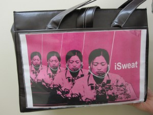 From factory farms to sweatshops, Daniela tackles world issues with the images displayed on her bag.
