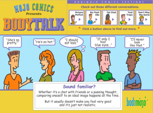A BodiMojo comic illustrates the pervasive issue of body talk.