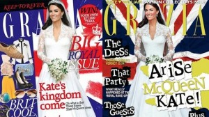 Australian Grazia (on the left) displays a more realistically-proportioned Kate Middleton than its British counterpart, which features a severely nipped-in waist.
