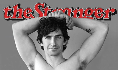 A man posing shirtless on cover of The Stranger marketed to copy Rolling Stone.