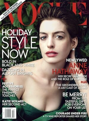 Vogue magazine cover featuring Anne Hathaway.