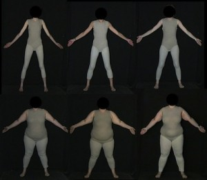 Image of digitally created body types dressed in gray leotards.