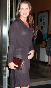 Photo of Brooke Shields in sheer dress that shows Spanx.