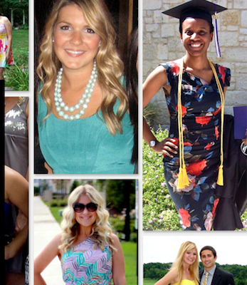 Screen shot of women from Rent the Runway website.
