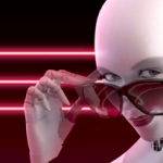 robot looking down her nose over sunglasses