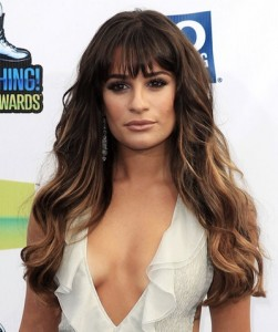Photo of Lea Michele with cleavage-revealing dress.