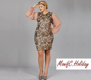 Plus-size model wearing Monif C. dress