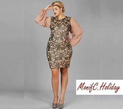 Plus-size model wearing Monif C. dress