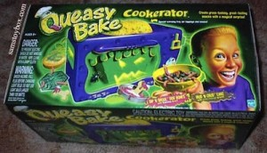 "Hasbro's ""boy"" version: the Queasy Bake. Because apparently, boys only enjoy cooking when it's gross."