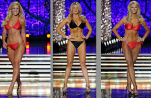 Comparison of three different Miss America contestants in bikinis, all looking very similar.