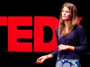 Still shot of Cameron Russell during TED talk.
