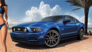 Image of Ford Mustang with part of female model in bikini shown, half cropped out of image.