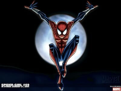 Comic book drawing of Spider-Girl.