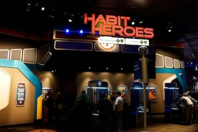 Photo of the outside of the Habit Heroes exhibit.