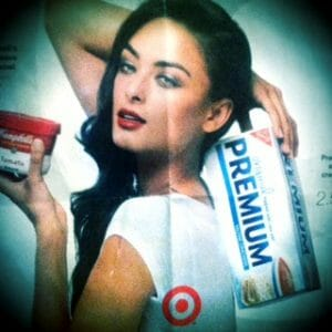 Photo of Target ad with brunette woman holding saltines and soup.