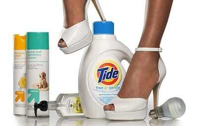 Target ad for Tide and other products, featuring a woman's feet in stilettos.