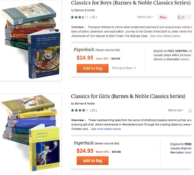 Screen shot of Barnes and Noble's Classics book sets for boys and girls.