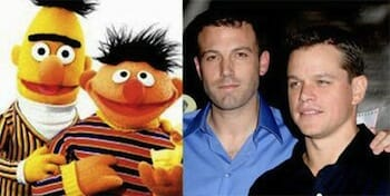 Ben Affleck and Matt Damon compared to photo of Bert and Ernie.