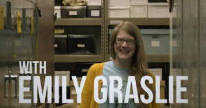 Screen shot of Emily Graslie in her YouTube show, The Brain Scoop.