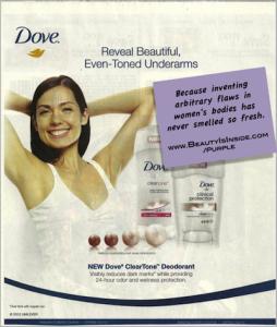 "Dove advertisement for underarm ""dark spots."""