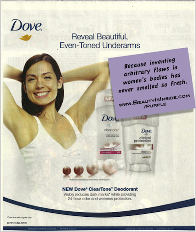 "Dove advertisement for underarm ""dark spots."""