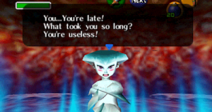 An escort mission in Zelda: Ocarina of Time features the demanding and difficult Princess Ruto.
