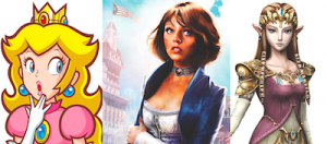 Left: Princess Peach from Super Mario Brothers, Center: Elizabeth from BioShock: Infinite, Right: Princess Zelda from the Zelda games.