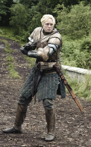 Brienne of Tarth from Game of Thrones, in full armor with sword.