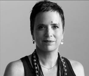 Black and white headshot of Eve Ensler.
