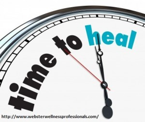 "Graphic of clock with words ""time to heal"" written on it."