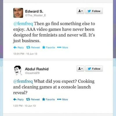 Screen shot of two tweets in response to Sarkeesian.